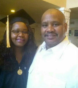 RN to BSN graduate Brenda White with her husband